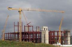 Κατασκευή των σπιτιών διαμερισμάτων στο ρωσικό κεφάλαιο - Μόσχα Στοκ εικόνες με δικαίωμα ελεύθερης χρήσης