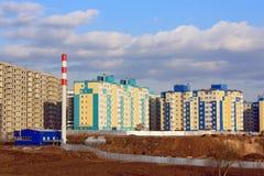 Κατασκευή των σπιτιών στα περίχωρα της πόλης Στοκ φωτογραφία με δικαίωμα ελεύθερης χρήσης