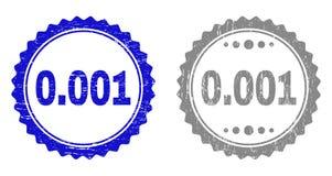 Κατασκευασμένα 0 001 γραμματόσημα Grunge με την κορδέλλα διανυσματική απεικόνιση