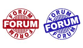 Κατασκευασμένα στρογγυλά γραμματόσημα ΦΟΡΟΥΜ Grunge απεικόνιση αποθεμάτων