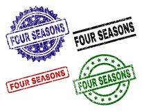Κατασκευασμένες σφραγίδες γραμματοσήμων του FOUR SEASONS Grunge ελεύθερη απεικόνιση δικαιώματος