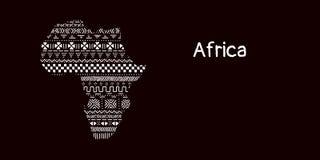 Κατασκευασμένη ήπειρος της Αφρικής στη γραπτή διακόσμηση mudcloth, διάνυσμα απεικόνιση αποθεμάτων