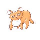 Κατασκευασμένη απομονωμένη διάνυσμα απεικόνιση χρώματος του χαριτωμένου συναισθηματικού γατακιού πιπεροριζών Το πρόσωπο μιας γάτα διανυσματική απεικόνιση