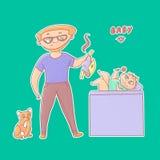 Κατασκευασμένη διανυσματική αστεία αυτοκόλλητη ετικέττα απεικόνισης Ο άπειρος μπαμπάς με τα γυαλιά και μια γενειάδα πήραν μια sti απεικόνιση αποθεμάτων