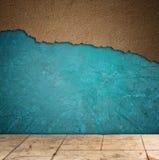 Κατασκευασμένοι μπλε τοίχος Grunge και σχέδιο πατωμάτων Στοκ Εικόνες