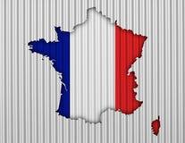 Κατασκευασμένος χάρτης της Γαλλίας στα συμπαθητικά χρώματα Στοκ εικόνες με δικαίωμα ελεύθερης χρήσης