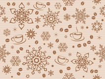 Κατασκευασμένο άνευ ραφής σχέδιο Χριστουγέννων εγγράφου της Kraft με το φασόλι καφέ Στοκ Εικόνες