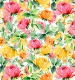 Κατασκευασμένο άνευ ραφής υπόβαθρο ελαιογραφίας Watercolor λουλουδιών Στοκ Φωτογραφία