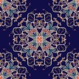 Κατασκευασμένο μπαρόκ άνευ ραφής σχέδιο ύφους κεντητικής Διανυσματικό σκούρο μπλε υπόβαθρο Ζωηρόχρωμος κεντημένος μπαρόκ Damask τ διανυσματική απεικόνιση