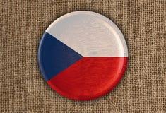 Κατασκευασμένο στρογγυλό ξύλο σημαιών Czechia στο τραχύ ύφασμα Στοκ εικόνα με δικαίωμα ελεύθερης χρήσης