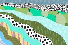 Κατασκευασμένο υπόβαθρο κινούμενων σχεδίων κινούμενων σχεδίων συρμένο χέρι Δονούμενα χρώματα και διαφορετικές μορφές απεικόνιση αποθεμάτων