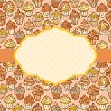 Κατασκευασμένο υπόβαθρο με το χαριτωμένο doodle cupcakes Διανυσματική απεικόνιση