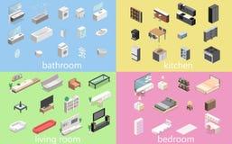 Κατασκευαστής επίπλων για τη δημιουργία ενός λουτρού, καθιστικό, κρεβατοκάμαρα, κουζίνα απεικόνιση αποθεμάτων