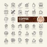 Κατασκευαστής καφέ, σπίτι καφέ, στοιχεία καφετεριών - ελάχιστο λεπτό σύνολο εικονιδίων Ιστού γραμμών απεικόνιση αποθεμάτων