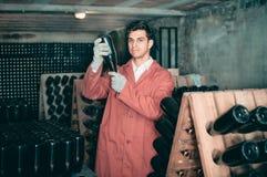 Κατασκευαστής κρασιού που φροντίζει τα μπουκάλια καρυκευμάτων Στοκ Εικόνες