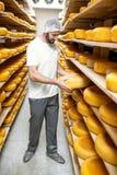 Κατασκευαστής τυριών στην αποθήκευση τυριών στοκ εικόνα