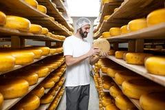 Κατασκευαστής τυριών στην αποθήκευση τυριών στοκ εικόνες