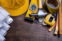 Κατασκευαστικά σχέδια και σύνολο αντικειμένων οικοδόμησης Στοκ Εικόνες