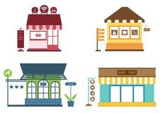 Καταστήματα και εικονίδια καταστημάτων που τίθενται με το κατάστημα ενδυμάτων, διάνυσμα Στοκ Εικόνες