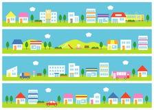 Καταστήματα και σπίτια σε μια οδό διανυσματική απεικόνιση