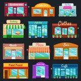 Καταστήματα και τα μπροστινά εικονίδια καταστημάτων καθορισμένα το επίπεδο ύφος επίσης corel σύρετε το διάνυσμα απεικόνισης διανυσματική απεικόνιση
