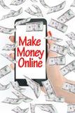 Καταστήστε τα χρήματα σε απευθείας σύνδεση, μήνυμα στο smartphone με τα πετώντας χρήματα Στοκ εικόνες με δικαίωμα ελεύθερης χρήσης