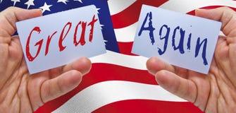 Καταστήστε την Αμερική μεγάλη πάλι με την αμερικανική σημαία στο υπόβαθρο Στοκ φωτογραφίες με δικαίωμα ελεύθερης χρήσης