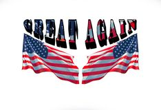 Καταστήστε την Αμερική μεγάλη πάλι με την αμερικανική σημαία στο υπόβαθρο Στοκ εικόνα με δικαίωμα ελεύθερης χρήσης
