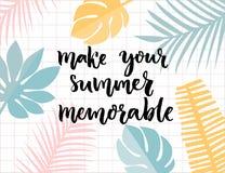 Καταστήστε το καλοκαίρι σας αξιοσημείωτο Εμπνευσμένη καλλιγραφία βουρτσών αποσπάσματος στο τροπικό πλαίσιο φύλλων απεικόνιση αποθεμάτων