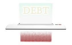 Καταστροφέας εγγράφων με τα χρέη απεικόνιση αποθεμάτων