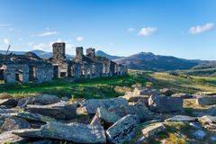 Καταστροφές αποδοκιμασιών λατομείων Rhos σε Snowdonia στοκ φωτογραφία