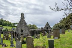 Καταστροφές εκκλησιών Kirkoswold και παλαιό KirkYard στο νότιο Ayrshire Σκωτία στοκ εικόνα