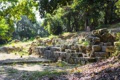 Καταστροφές ενός αρχαίου ναού στο νησί της Κέρκυρας στην Ελλάδα στοκ φωτογραφίες με δικαίωμα ελεύθερης χρήσης
