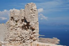 Καταστροφές κάστρων σταυροφόρων, Halki Στοκ Φωτογραφία