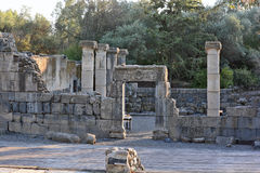 Καταστροφές μιας αρχαίας συναγωγής στο αρχαιολογικό πάρκο Katz Στοκ Φωτογραφία
