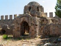 Καταστροφές μιας βυζαντινής εκκλησίας στο κάστρο Ichkale σε Alanya στοκ εικόνα