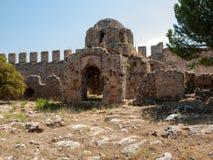 Καταστροφές μιας βυζαντινής εκκλησίας στο κάστρο Ichkale σε Alanya στοκ φωτογραφίες