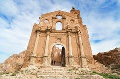 Καταστροφές μιας παλαιάς εκκλησίας που καταστρέφεται κατά τη διάρκεια του ισπανικού εμφύλιου πολέμου Belchite Στοκ Εικόνα
