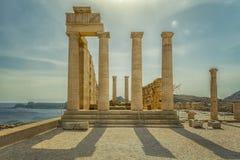 Καταστροφές ναών ακρόπολη της Ρόδου Lindos στοκ εικόνα