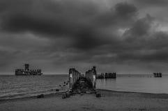 Καταστροφές παλαιού Torpedownia Hexengrund στη θάλασσα της Βαλτικής σε Babie Doly, Gdynia, Πολωνία Στοκ Εικόνες