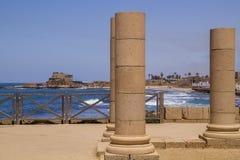 Καταστροφές παλατιών Herods στην Καισάρεια Μεσογειακή ακτή του Ισραήλ Στοκ Φωτογραφίες