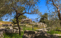 Καταστροφές σε αρχαίο Corinth Στοκ Εικόνες