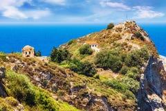 Καταστροφές σε Kastro, παλαιά μητρόπολη του νησιού Skiathos στοκ εικόνες