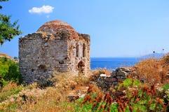 Καταστροφές σε Kastro, παλαιά μητρόπολη Skiathos, στοκ εικόνες