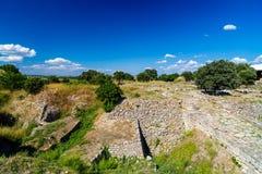 καταστροφές της θρυλικής αρχαίας πόλης του τρόυ Στοκ Εικόνες
