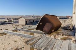 Καταστροφές της μιά φορά ακμάζουσας γερμανικής πόλης Kolmanskop μεταλλείας στην έρημο Namib κοντά σε Luderitz, Ναμίμπια, Νότιος Α Στοκ Εικόνες