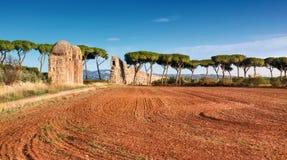 Καταστροφές του αρχαίου υδραγωγείου στον τρόπο Appia στη Ρώμη, Ιταλία Στοκ Φωτογραφίες