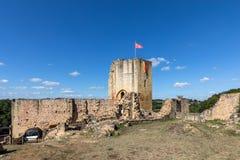 Καταστροφές του κάστρου σε Carlux στην κοιλάδα Dordogne, Aquitaine στοκ φωτογραφία