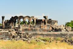 Καταστροφές του καθεδρικού ναού Ejmiatsin, Αρμενία Zvartnots στοκ φωτογραφία