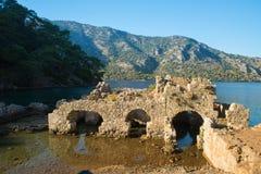 Καταστροφές του λουσίματος της Κλεοπάτρας, Marmaris, Τουρκία στοκ εικόνες
